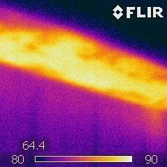 Heat loss as displayed on thermal camera