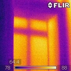 Heat loss through window as displayed on thermal camera